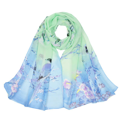 Fashion Women Scarves Peach Blossom Printing Soft Long Wrap Scarf 2019 New Ladies Chiffon Shawl Scarves