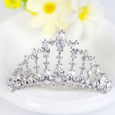 LUOTEEMI Brand Top Luxury Crown Cubic Zircon Bridal Wedding Princess Tiara Hair Accessories White Gold-Color Fancy Jewelry