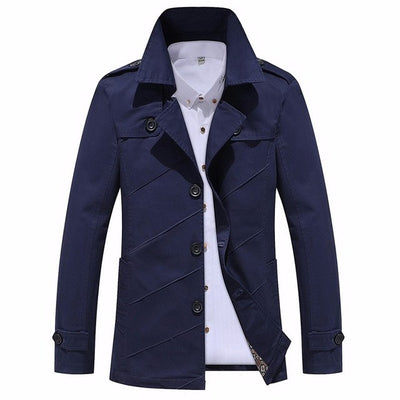 Men'S Trench Spring Autumn New Fashion Leisure Boutique Trench Coat Male Pure Color Fit Long Jackets Men Large Size Coat