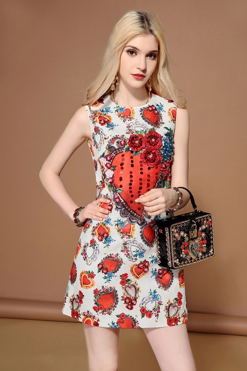 bc8d797a5a5a7 LD LINDA DELLA 2019 Fashion Runway Summer Dress Women's Sleeveless Gorgeous  Sequined Casual Floral Print Elegant Short Dresses
