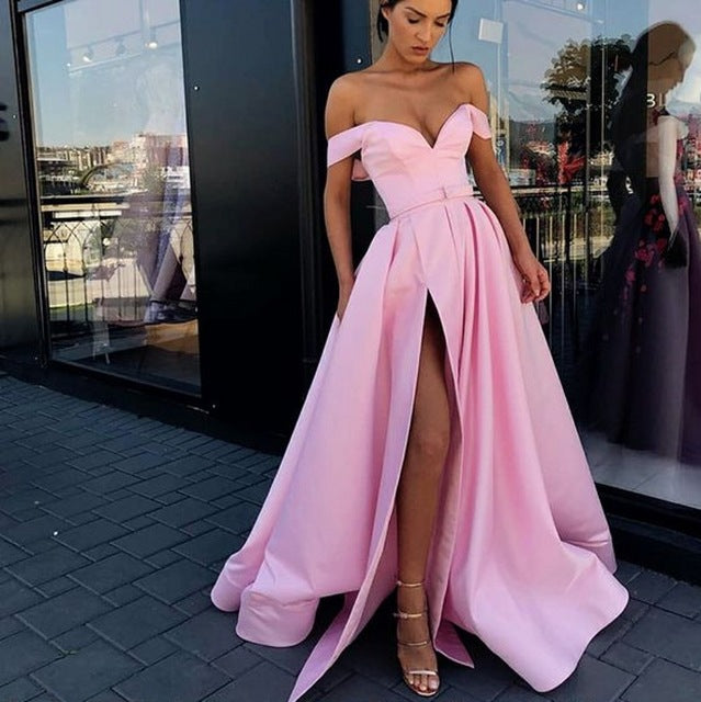 90b78e821425 Elegant Off the Shoulder Red Party Gown Satin Sexy Prom Dress Sky Blue High  Slit Plus