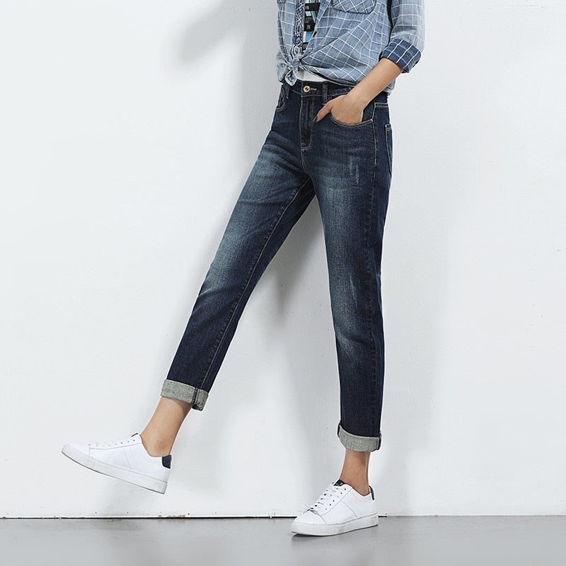 a2a77402fa9 LEIJIJEANS Hot Sale Spring Plus Size Moustache Effect Ripped Bleached Mid  Waist Full Length Women Straight
