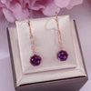 100% Natural Amethyst Drop Earrings 925 Sterling Silver Round Purple Gemstone Fine Jewelry for Women Long Dangle Earring CCEI019