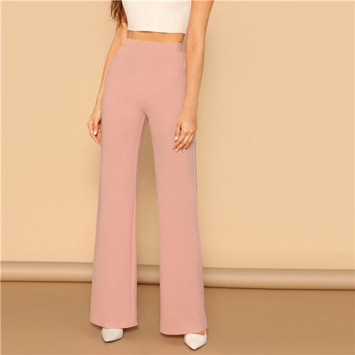 769923c5411 Pink Elastic High Waist Straight Leg Solid Long Pants Women Trousers Office  Lady Spring Elegant Workwear