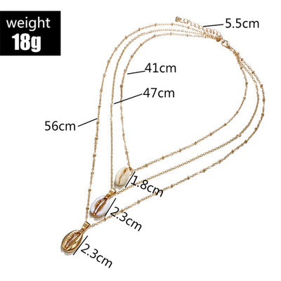 Shuangshuo New Bohemian Three Layers of Shell Pendant Necklace Natural Shell Gold Cowrie Women Cowry Seashell Necklace Jewelry