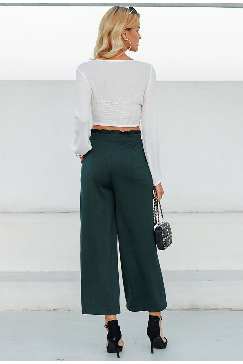 ae6944cb5d9 Elegant button solid trousers women suit pants Ruffled high waist  streetwear wide-leg pant Casual