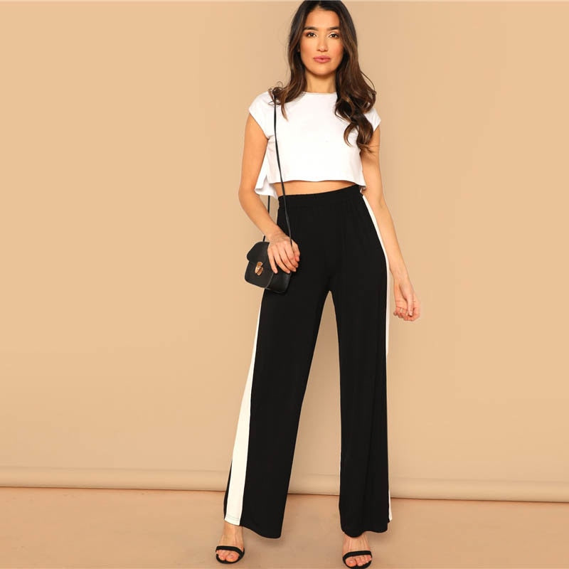 25bc98fbde SHEIN Black High Waist Contrast Panel Wide Leg Pants Women Preppy Leisure  Solid Long Trousers 2019