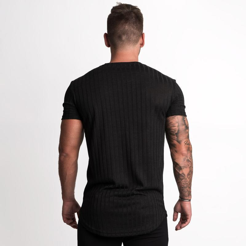 52a14cce3cc 2019 New Men Casual Fashion Short sleeve T-shirt Gyms Fitness Workout Skinny  Black t
