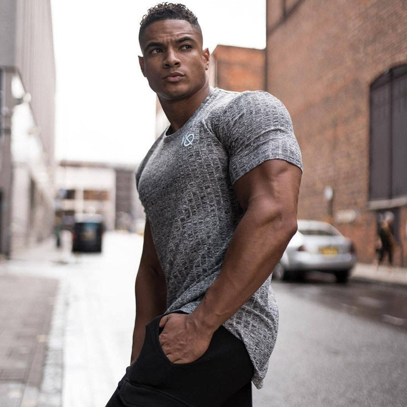 f587dcc8 2019 New Men Casual Fashion Short sleeve T-shirt Gyms Fitness Workout  Skinny Black t