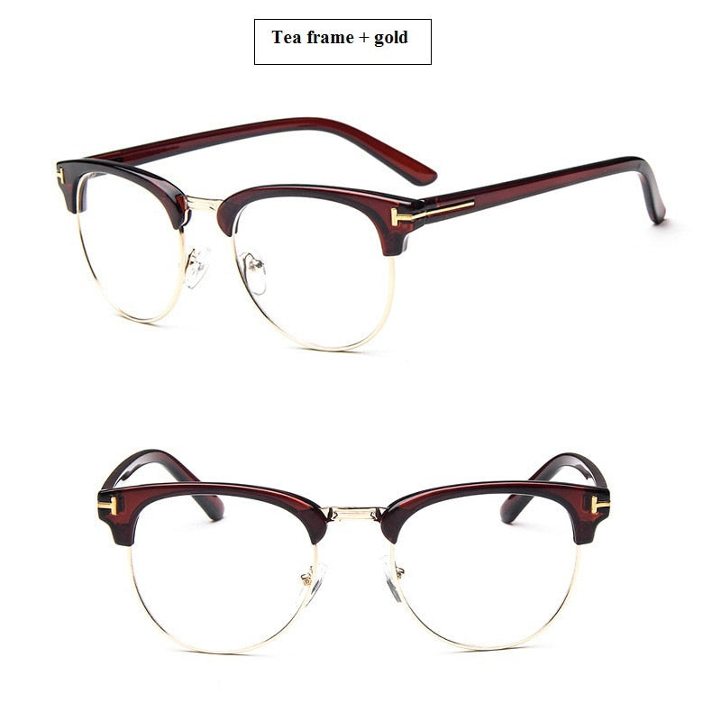 125f1d4cee85 2019 Half Metal Women Glasses Frame Men Eyeglasses Frame Vintage  SquareClear Glasses Optical Spectacle Frame Spectacles
