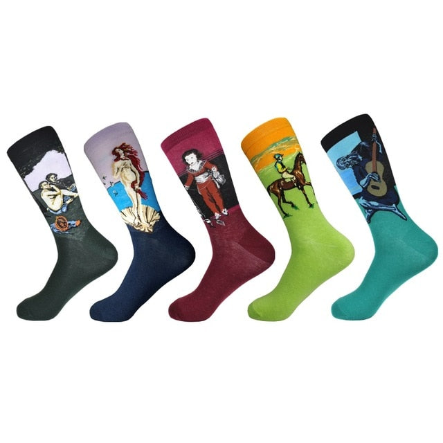 3dbc0edfc0c24 Happy Socks Limited Standard Casual 2019 New Men's funny Socks Gift Set Oil  Painting Series Combed