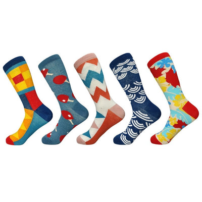 Happy Socks Limited Standard Casual 2019 New Men's funny Socks Gift Set Oil Painting Series Combed Cotton Novelty Men 5 Pairs