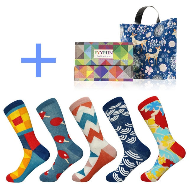 4c8653f55 Happy Socks Limited Standard Casual 2019 New Men s funny Socks Gift Set Oil  Painting Series Combed