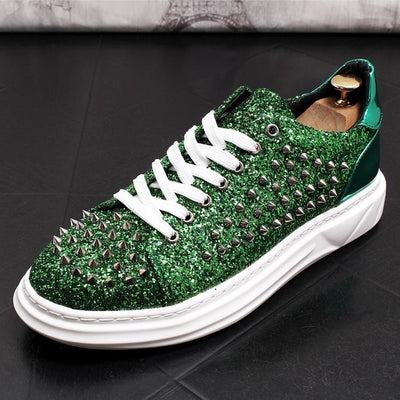 ERRFC Personalized Luxury Men Casual Comfort Shoes Fahsion Round Toe Designer Rivets Charm Green Trending Leisure Shoes Man 43