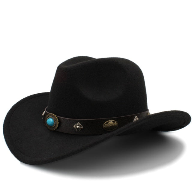 2533d4538b6 100% Wool Western Cowboy Hat for Men Winter Autumn Jazz Equestrian Sombrero  Hombre Steampunk Fedora