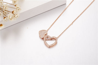Heart Pendants 5A Zircon Cz Real 925 Sterling silver & rose gold Wedding Pendant with Necklace for women Bridal jewelry gift