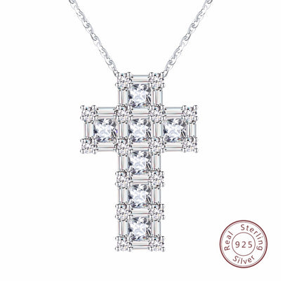 Brand 100% Real Sterling Silver Pendant & Necklace For Women AAA CZ Prong Setting Cross Shape Male Fine 925 Jewelry