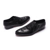 FELIX CHU Fashion Crocodile Pattern Mens Oxfords Black Brown Genuine Leather Pointed Toe Man Dress Shoes Lace Up Leather Shoes