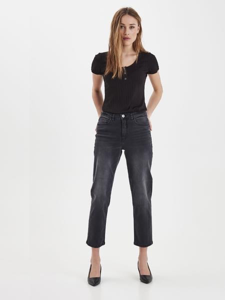 Ichi Raven Mom Jeans Washed Grey