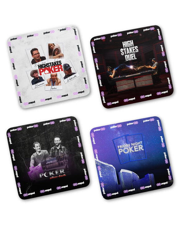 4-Pack of Cardboard PokerGO Show Drink Coasters