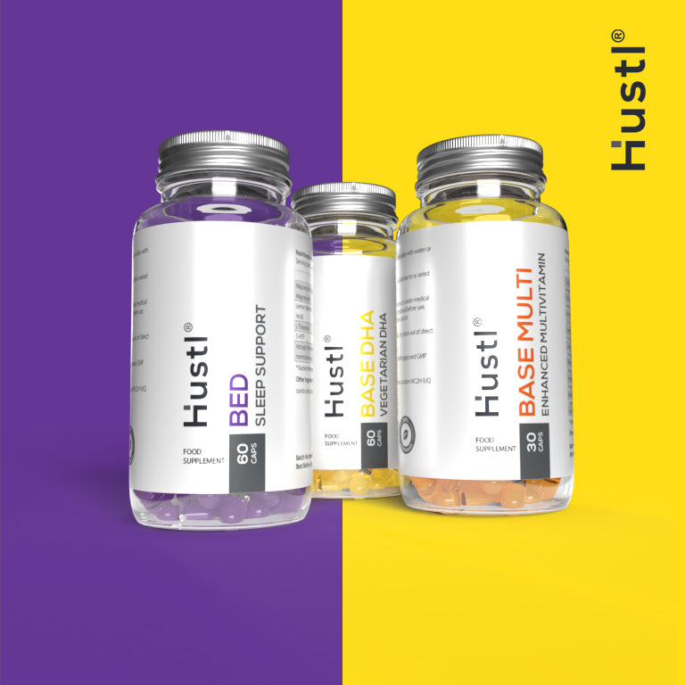 Hustl® 'Base' Advanced Multi Vitamin, Vegetarian DHA & 'Bed' Sleep Support Combination