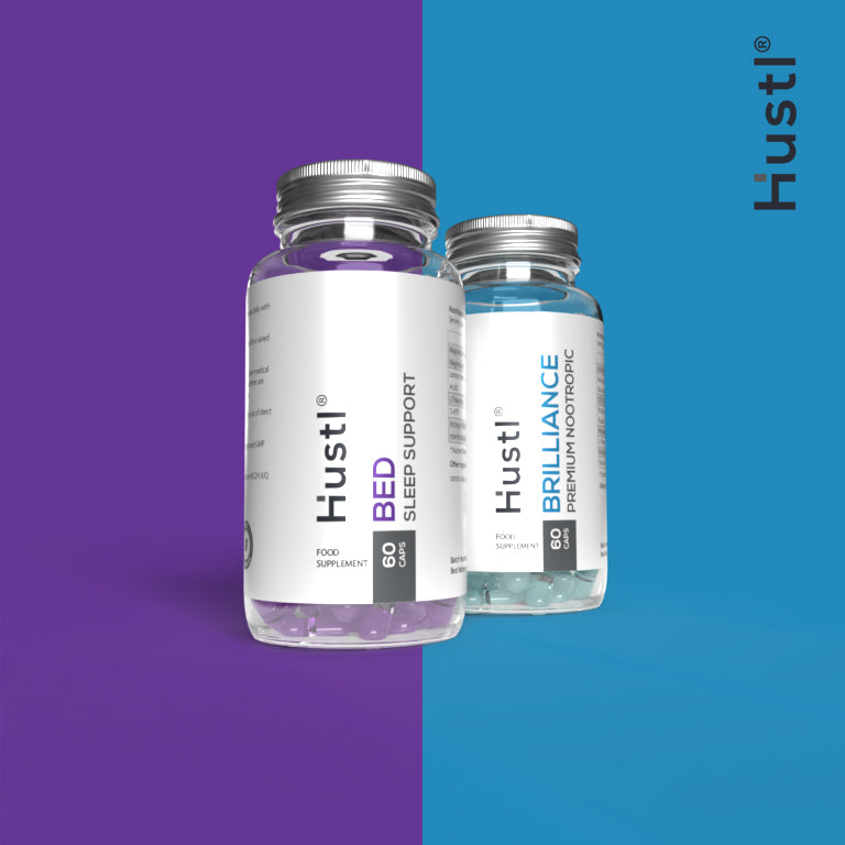Hustl® 'Brilliance' Enhanced Nootropic & 'Bed' Sleep Support Combination