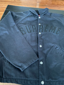 Black Supreme Snap Front Twill Jacket Size Small