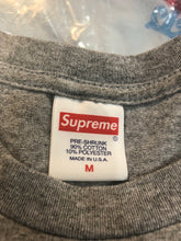 Load image into Gallery viewer, Brand new Heather grey Supreme banner T-shirt size medium