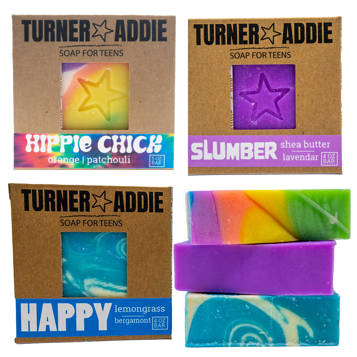 Soap Bundle (3 Bars) - Slumber, Happy, Hippie Chick – Handmade Natural Soap for Teens
