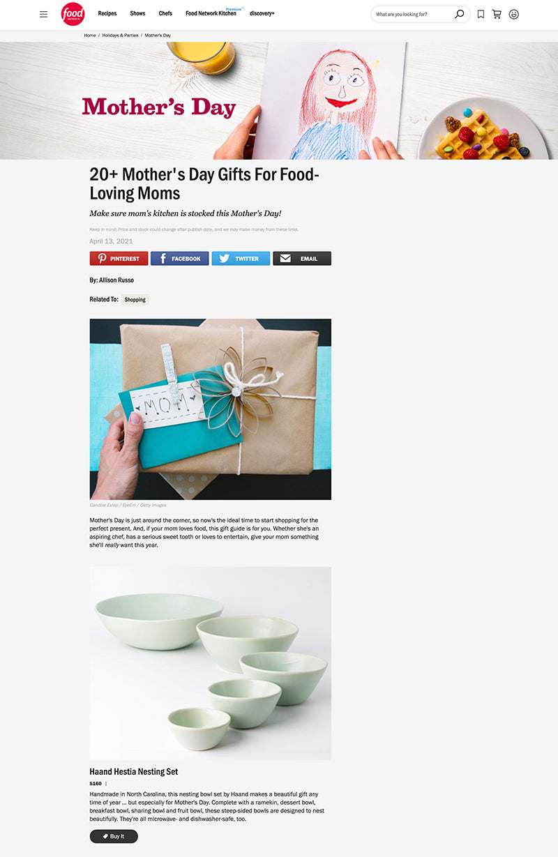 Food Network Mother's Day Guide Haand Nestia Set