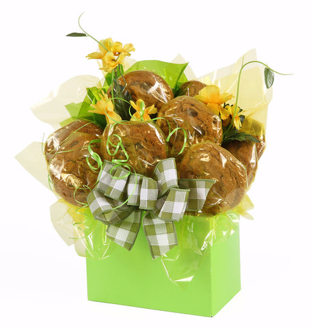 Green Box Cookie Bouquet - 8, 10, 12 or 16 Cookies