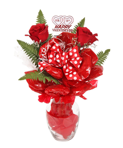 Glass Vase Roses Cookie Bouquet - 12 Cookies