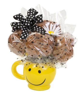 Smiley Mug Cookie Bouquet - 6 Cookies