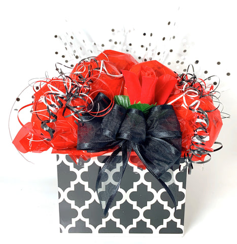 Black and White Lattice Box Cookie Bouquet - 8, 10, 12 or 16 Cookies
