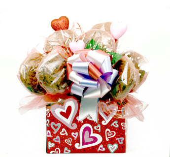 Valentine's Day Hearts Cookie Bouquet - 8, 10, 12 or 16 Cookies