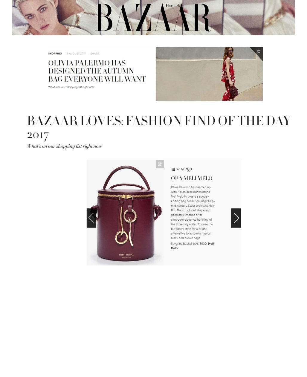 Harper Bazaar UK severine bucket bag