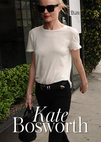 Kate Bosworth wears Rosalia Mini Cross Body Bag Black Woven