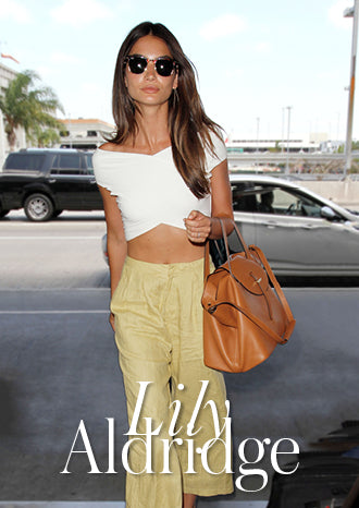 Lily Aldridge wearing meli melo thela tote bag tan