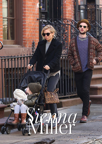 Sienna Miller with a Thela Mini Cheetah Print Calf Hair