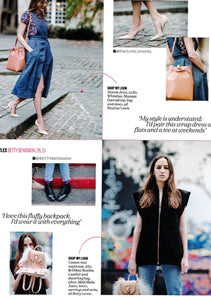 Elle UK featuring meli melo Backpack Mini Natural Shearling