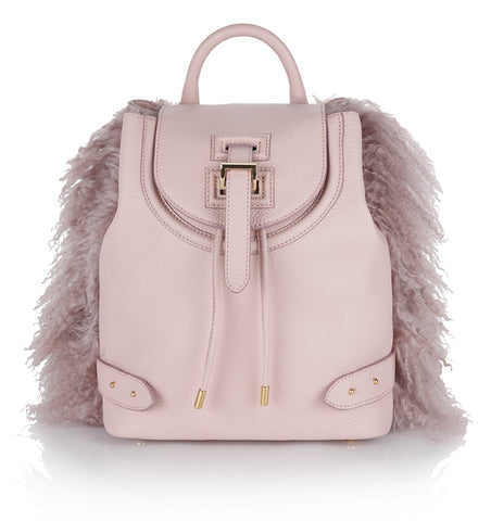 Backpack Mini Dusty Pink Shearling as seen on Olivia Palermo