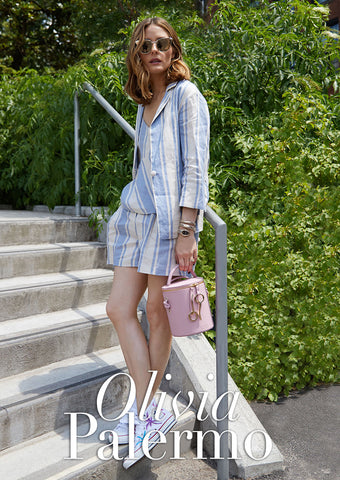 Olivia Palermo with Primrose Pink Severine Bucket Bag