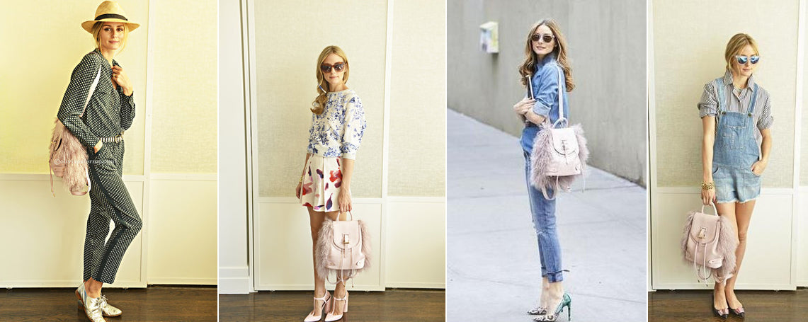 Olivia Palermo wearing meli melo Backpack Mini Dusty Pink Shearling