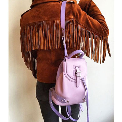Leather Backpack Mini Lilac