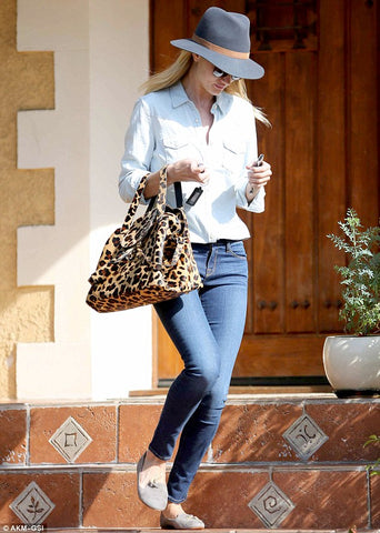 Rosie Huntington Whiteley and meli melo Thela Cheetah Bag