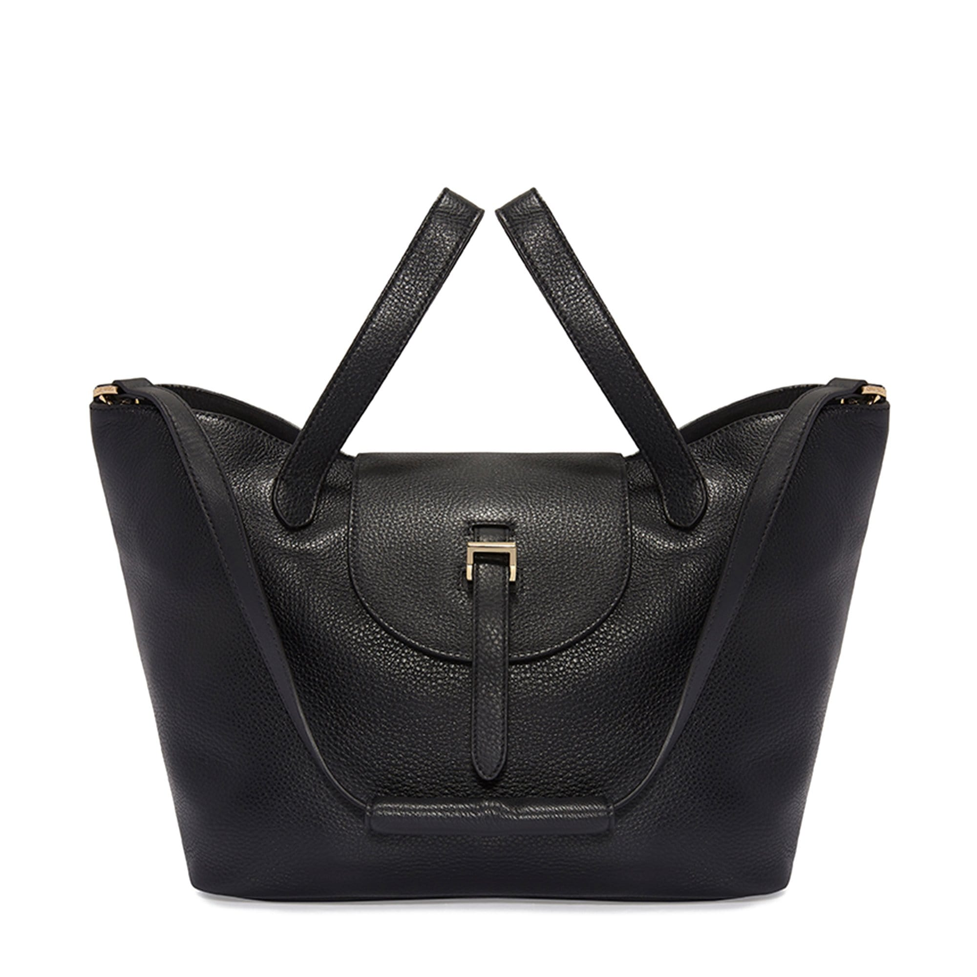 Thela Black Leather Tote Bag for Women