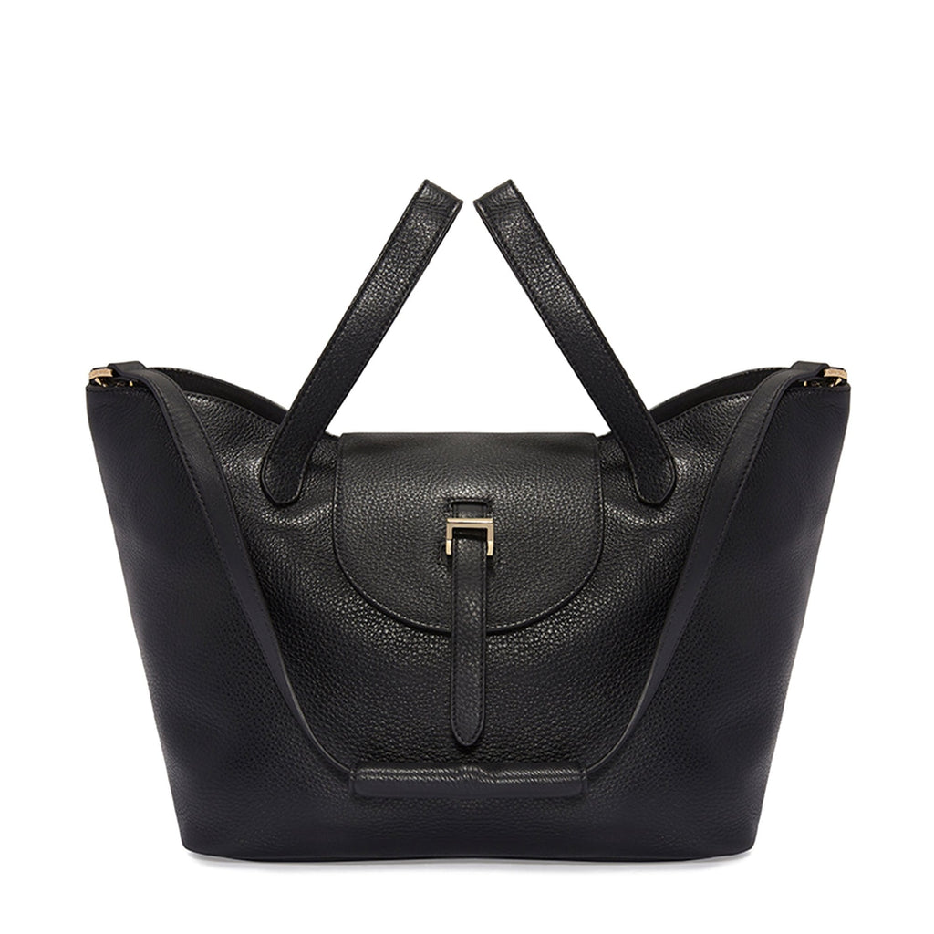 Thela Black Leather Tote Bag for Women - meli melo Official