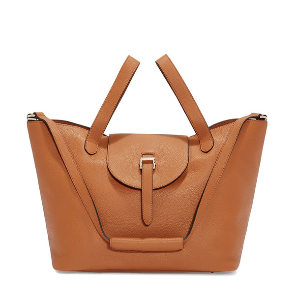 Thela Tan Brown Leather Tote Bag for Women - meli melo Official