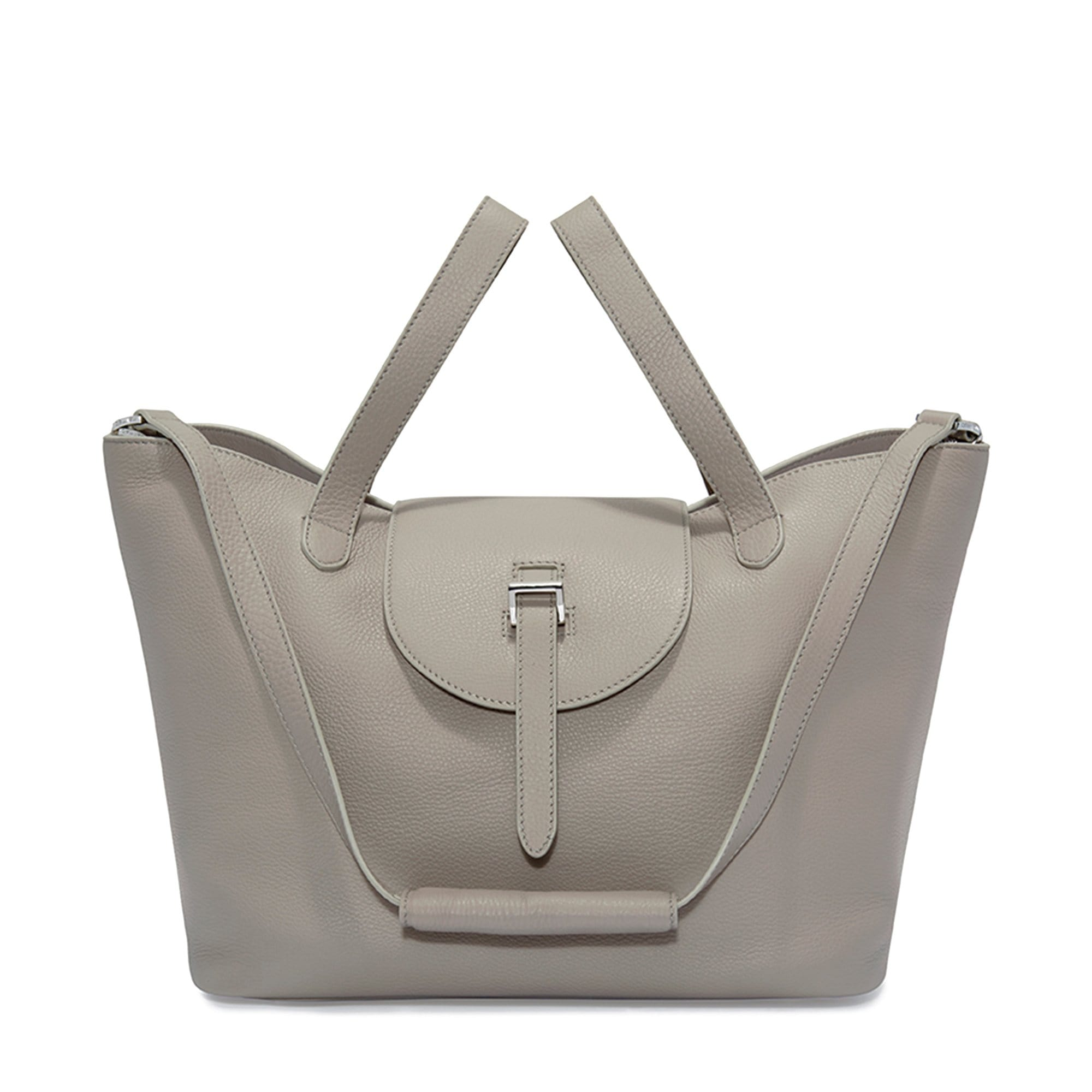 Thela Taupe Grey Leather Tote Bag for Women