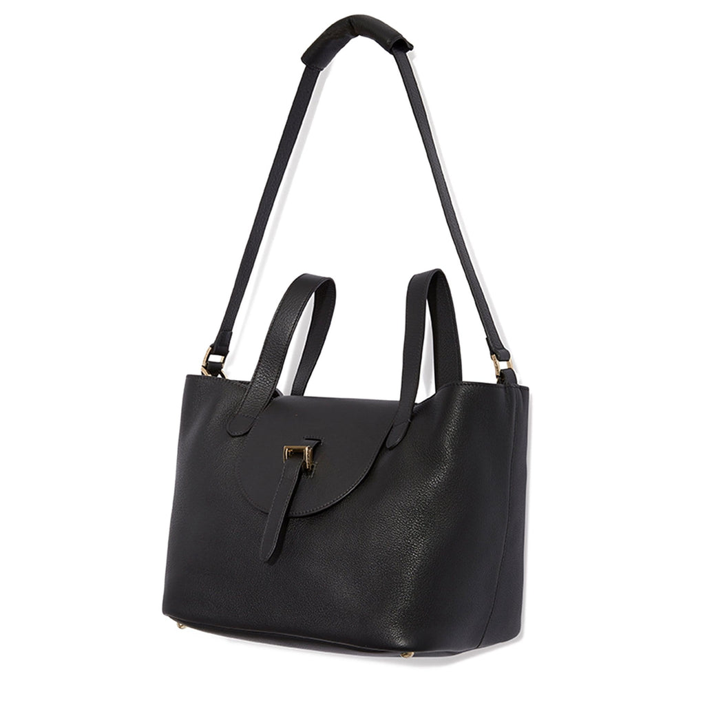 Thela Medium Black Leather Tote Bag for Women - meli melo Official